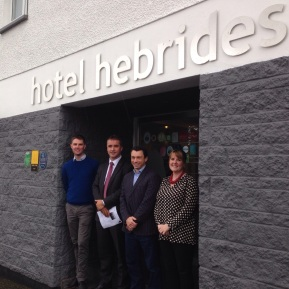 Mr MacNeil met with representatives from Vodafone recently to launch the 3G Open Sure Signal in Tarbert